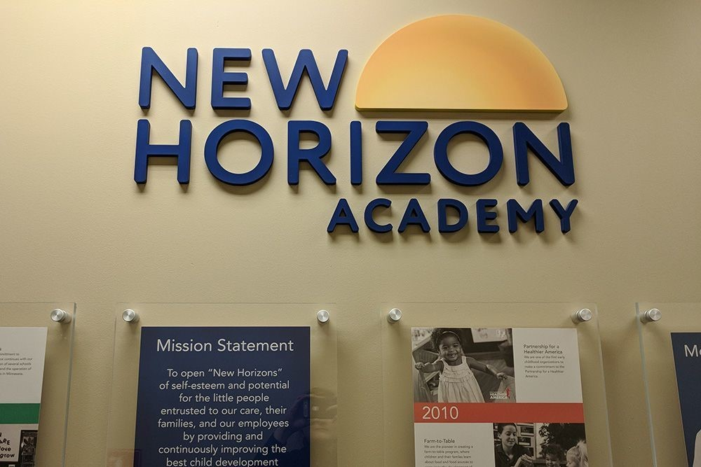 Painted PVC Education Dimensional Sign for New Horizon Academ
