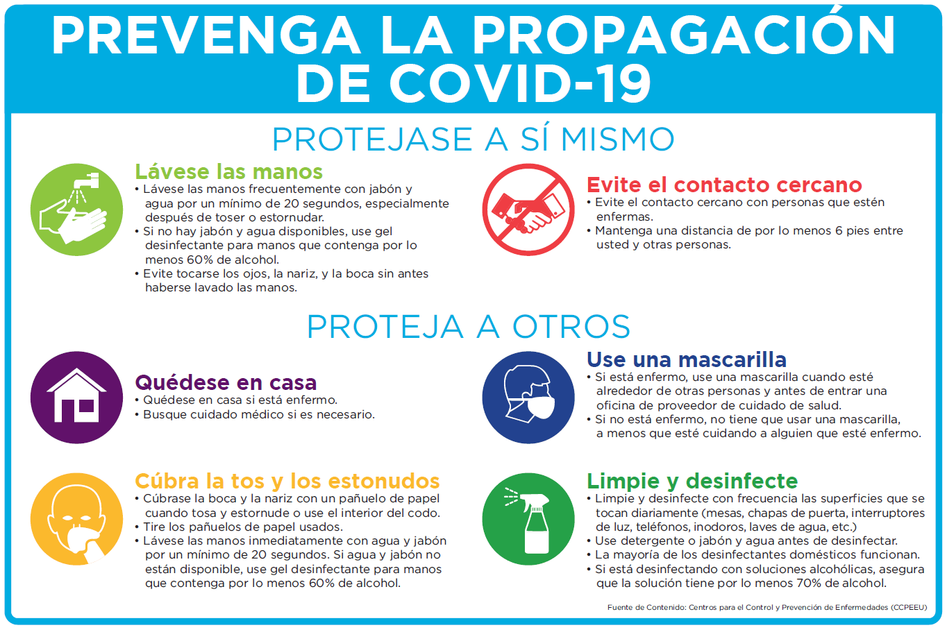 Spanish Prevent COVID-19 Sign
