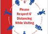 Health and Hygiene Sign for Respecting Six Feet Social Distancing While Waiting
