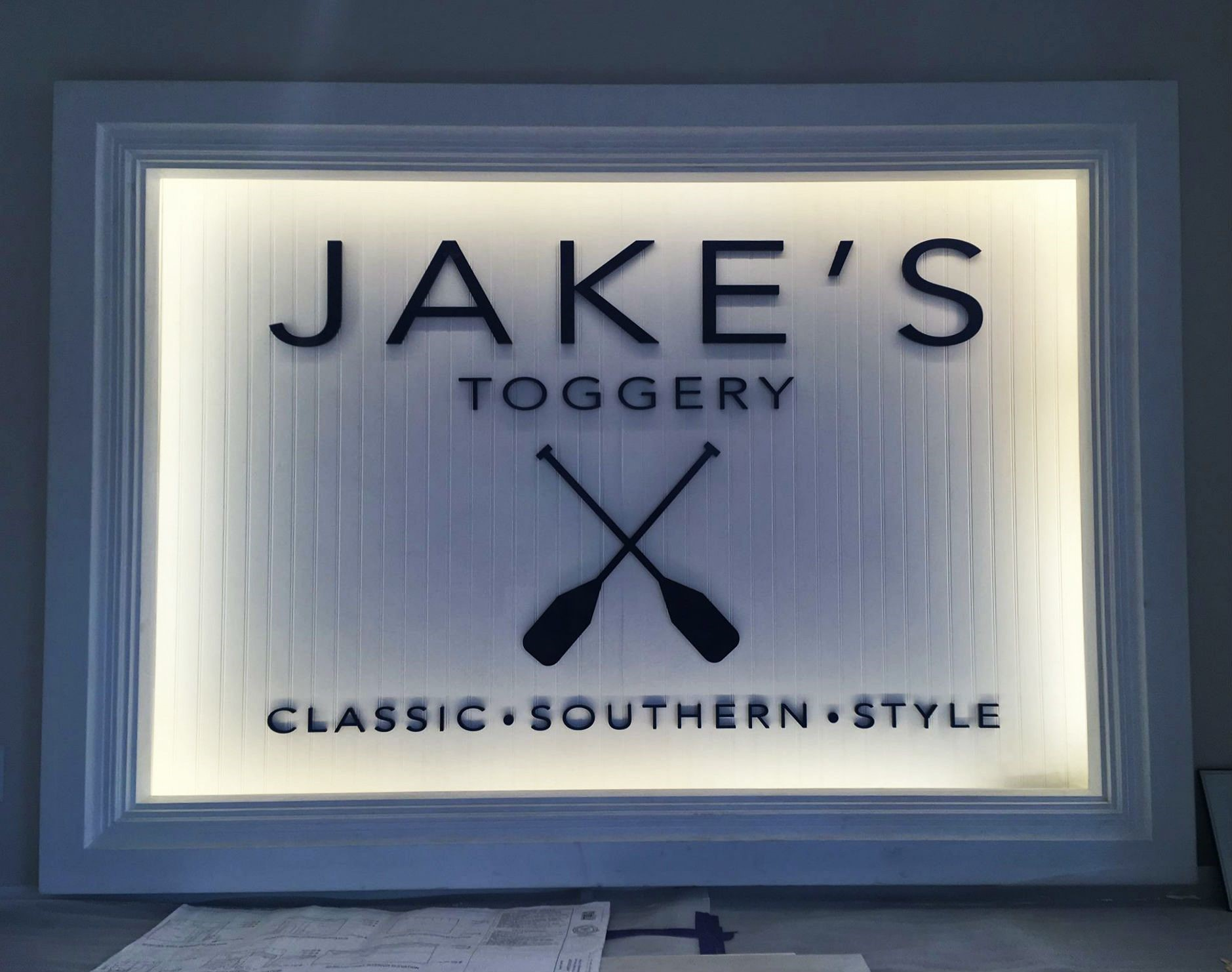 Illuminated Dimensional Sign for Jake's Toggery