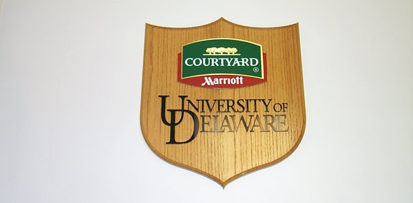 Wooden Dimensional Sign for University of Delaware and Courtyard Marriott