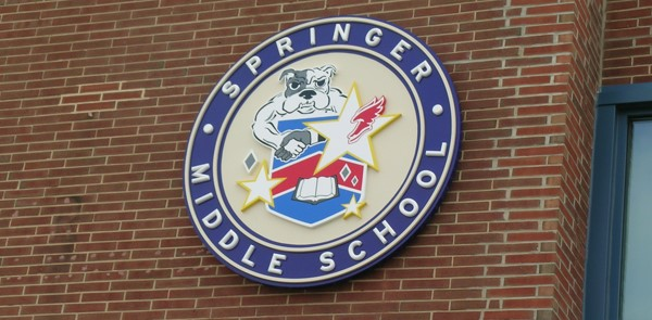 Dimensional Sign for Springer Middle School with Bulldog Logo