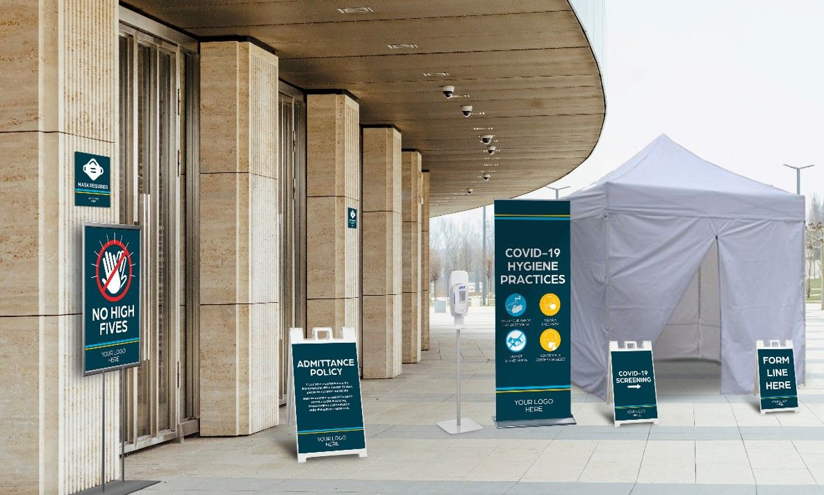 outdoor standing COVID-19 banner and a-frame signs