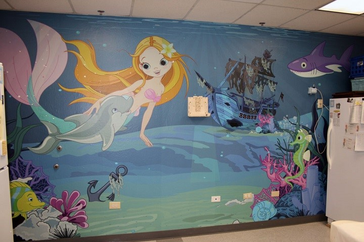 Undersea Wall Mural for Dayton Children's Medical Center, with fish mermaid, dolphin, shark and seahorse
