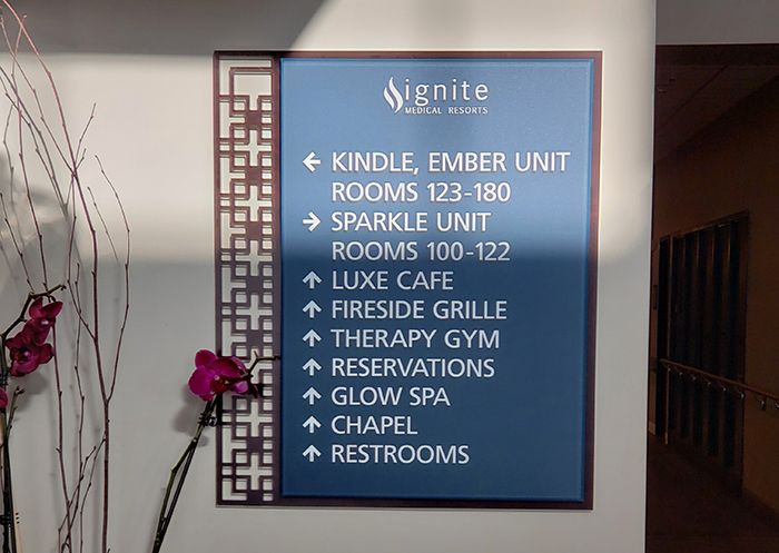 health clinic interior directory sign