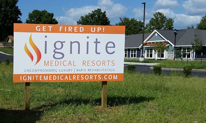 Post and Panel Sign for Ignite Medical Resort