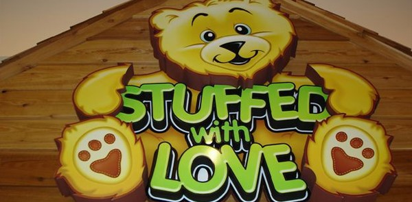 Stuffed with Love 3D sign with teddy bear