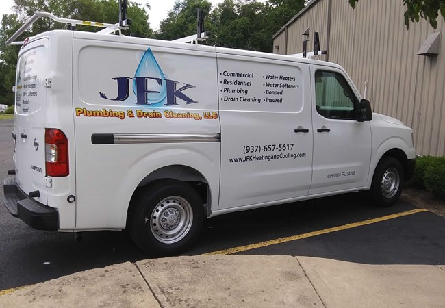 JFK Plumbing and Drain Cleaning | JFK | Plumbing | Logo | Design | Partial Vehicle Wraps | Corporate Branding Signs | Professional Services Signs | Dayton, OH