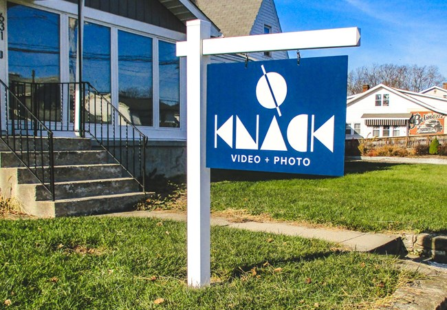 Knack Photo + Video | Hanging Sign | Polymetal | Vinyl Frame | Exterior Signs | Corporate Branding Signs | Professional Services Signs | Dayton, OH