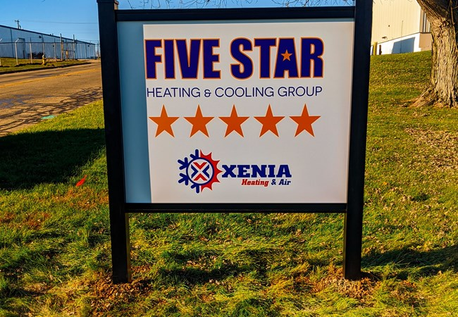 Five Star Heating and Cooling | Xenia Heating and Air | Ground Signs | Aluminum Signs | Professional Services Signs | Xenia, OH