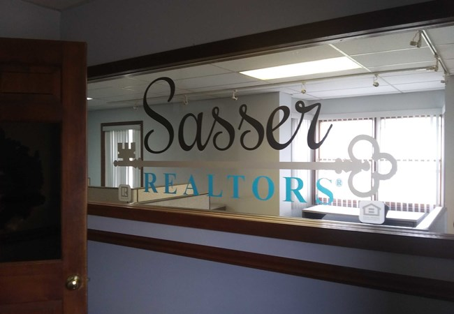 Sasser Realtors | Frosted Vinyl | Digital Etchmark | Window Graphics | Corporate Branding Signs | Real Estate | Beavercreek, OH
