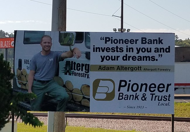 Post & Panel Sign for Pioneer Bank and Trust | Rapid City, SD