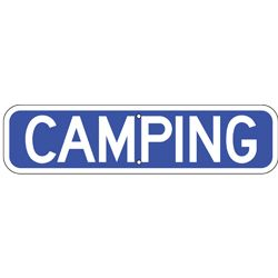 camping sign blue