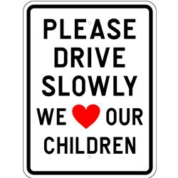 drive slowly children sign
