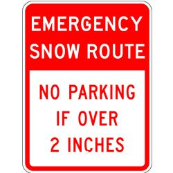 emergency snow route no parking sign