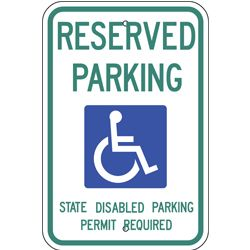 handicap reserved parking state permit sign