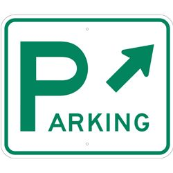 parking right arrow sign green