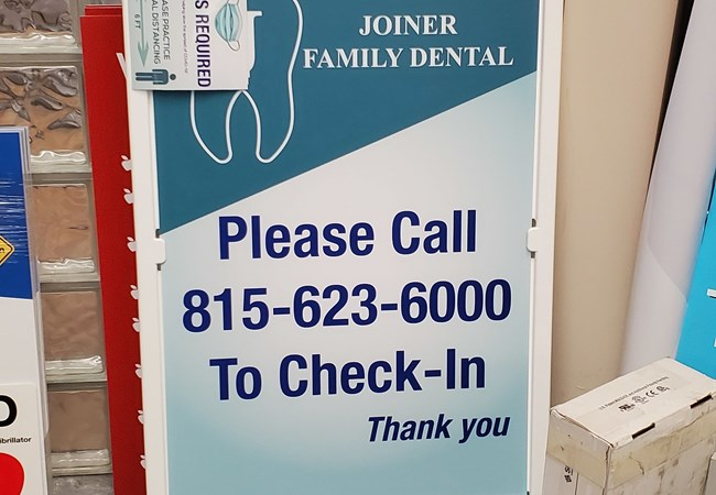 A-frame Wayfinding Signs | Social Distancing Signs | Dentist, Orthodontist and Oral Surgeon Signs | Rockford, IL