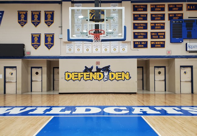 Defend the Den Wall Graphics for School Gymnasium at Davenport North High School