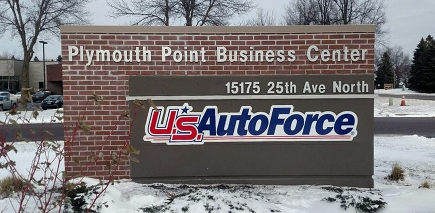 Updated monument with cloud cut logos for U.S. Auto Force