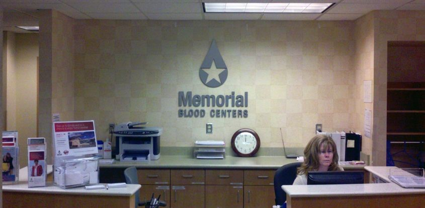 Brushed metal PVC letters/logo for Memorial Blood Centers