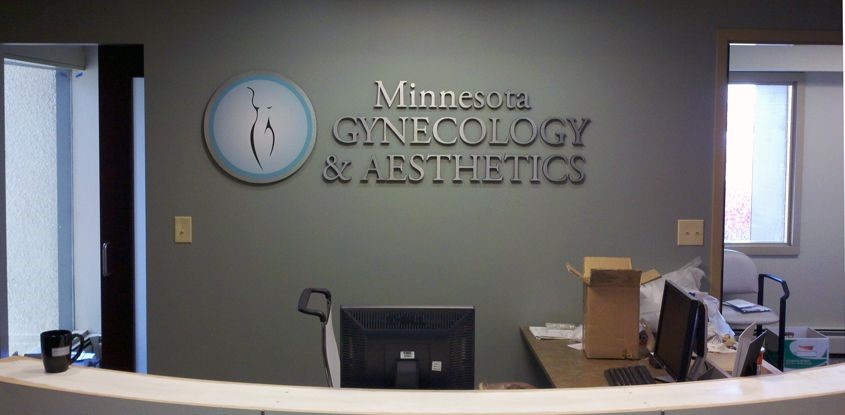 Black PVC Letters with Brushed Metal Face for Minnesota Gynecology & Aesthetics