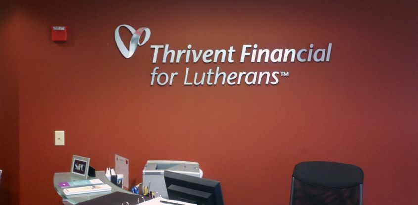 Brushed aluminum letters for Thrivent Financial