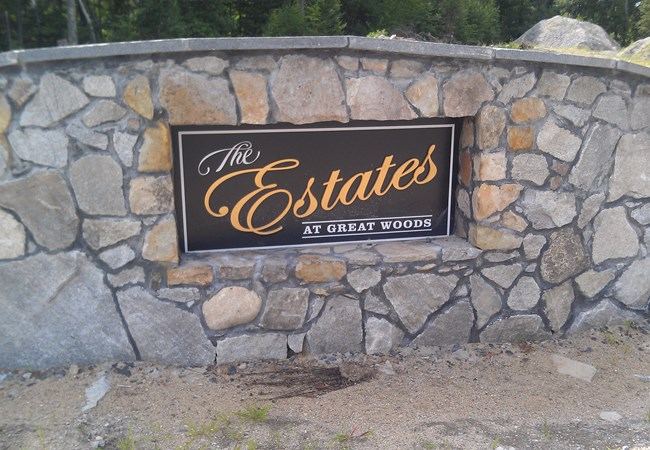 MA Real Estate stone and dimensional letter sign NH