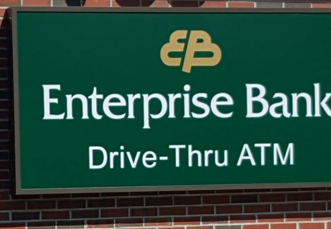Enterprise Bank Nashua NH LED illuminated sign cabinet Nashua NH MA